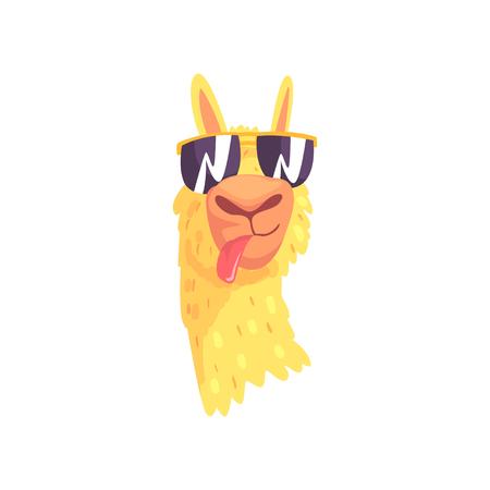 Śmieszny lama charakter w okularach przeciwsłonecznych, śliczna alpagowa zwierzęca kreskówka wektoru ilustracja na białym tle