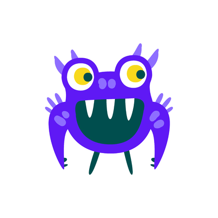 Funny blue toothy cartoon monster, fabulous incredible creature, cute alien vector Illustration on a white background Иллюстрация