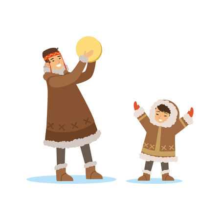 Eskimo, Inuit, Chukchi kids in traditional costume playing tambourine, northern people, life in the far north vector Illustration