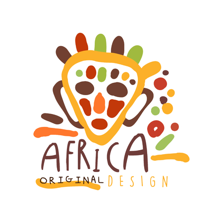 Original african ethnic tribal ritual mask logo. Cartoon man face with traditional ornamentation. Colorful vector illustration isolated on white background. For card, poster, children t-shirt design.