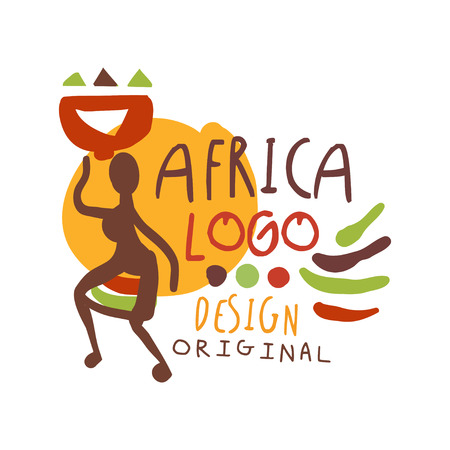 African ethnic tribal logo with female silhouette Illustration