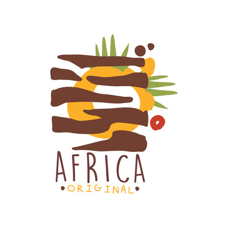 Original african tribal doodle logo with zebra pattern. Colorful scribble vector illustration isolated on white. Decorative ornament for card, poster, children t-shirt design. Travel to Africa. Illustration