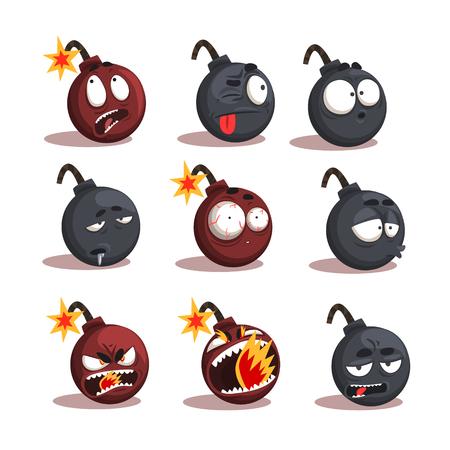 Cartoon Bombe Emotionen gesetzt Standard-Bild - 87384766