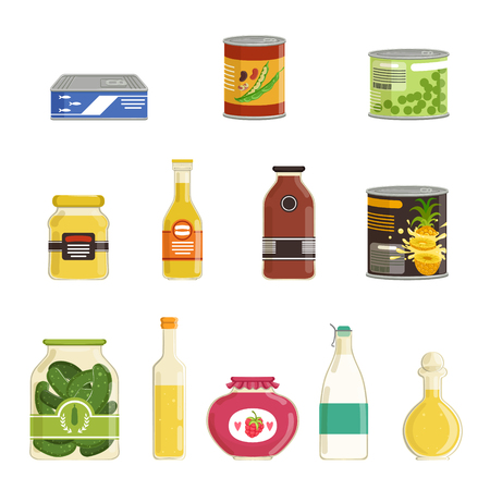 Canned goods vector set Stock Vector - 87384767