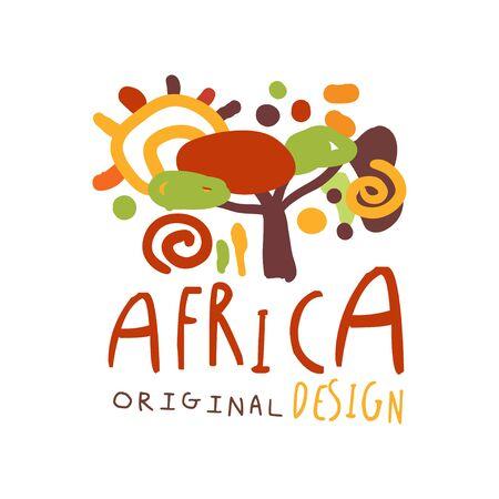 Original african savannah landscape logo Illustration