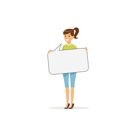 Beautiful smiling woman character with empty message board, speech bubble vector Illustration Illustration