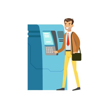 Zakenman die de vectorillustratie van de contant geldautomaat gebruiken