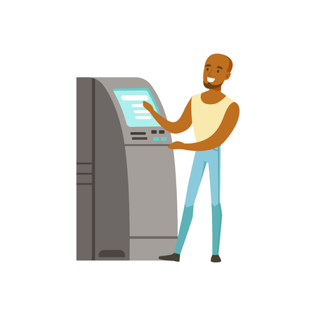 Young black man using cash atm machine vector Illustration