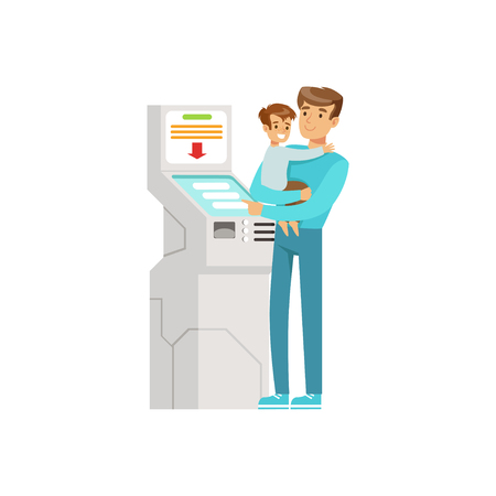 Young man with kid in his hands using electronic self service payment terminal, people carrying out operations with terminal vector Illustration Иллюстрация