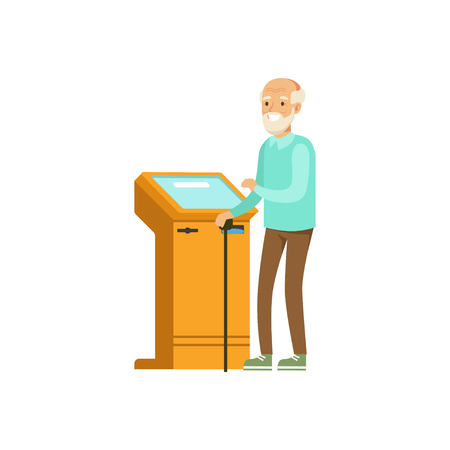 withdrawal: Senior man using electronic self service payment terminal vector Illustration Illustration