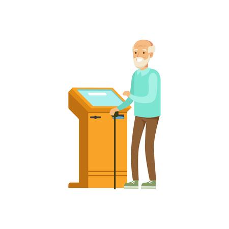 Senior man using electronic self service payment terminal vector Illustration Illustration