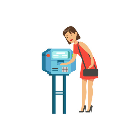 Woman using automatic vending machine, people carrying out operations with terminal vector Illustration
