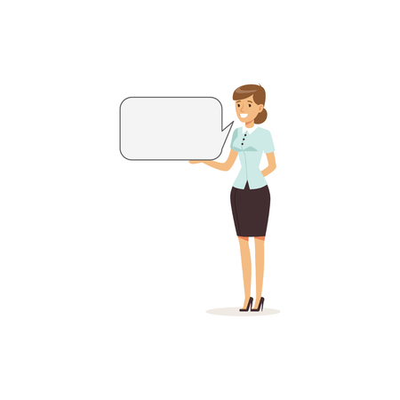 Beautiful smiling businesswoman character with empty message board, speech bubble vector Illustration