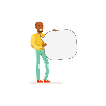 African man character with empty message board, speech bubble vector Illustration