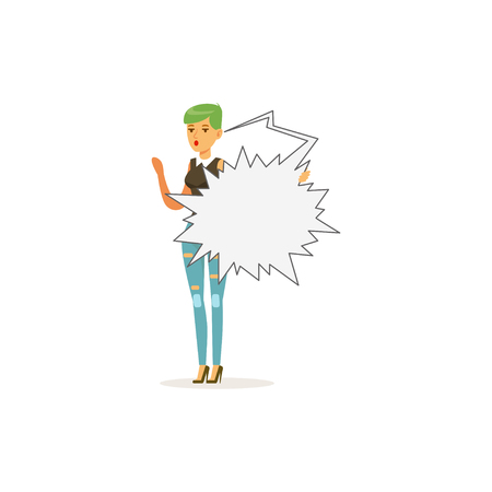 Fashion young woman character standing with empty bursting speech bubbl vector Illustration Illustration
