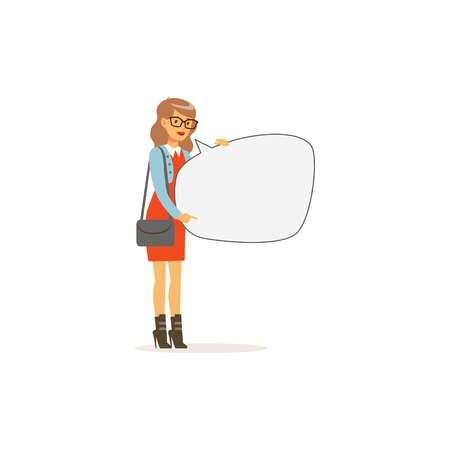 Beautiful young woman character with empty message board, speech bubble vector Illustration