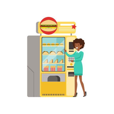 Mujer joven de pie junto a la máquina expendedora automática con comida rápida vector ilustración Foto de archivo - 87384797