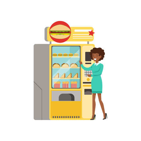 Young woman standing next to automatic vending machine with fast food vector Illustration