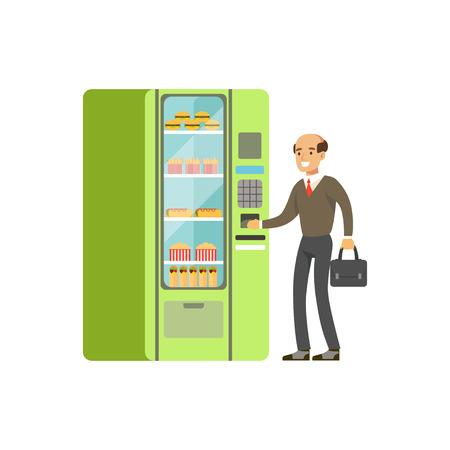 Hombre de negocios usando la máquina expendedora expendedora con la comida rápida ilustración vectorial Foto de archivo - 87384799