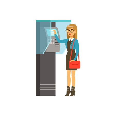 Woman using outdoor Information terminal, people carrying out operations with terminal vector Illustration
