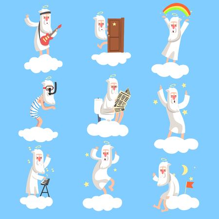 God character working days set Illustration