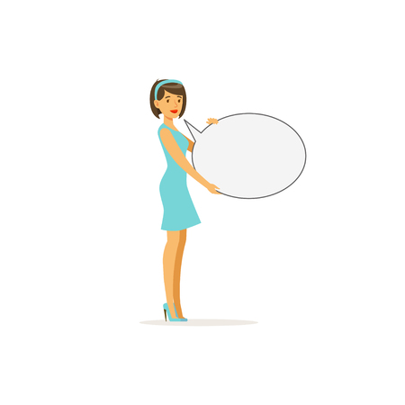 activist: Beautiful brunette woman character with empty message board, speech bubble vector Illustration