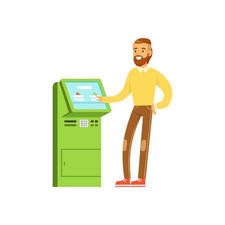 Glimlachende mens die de elektronische terminal van de zelfbedieningsbetaling, mensen gebruiken die verrichtingen met eind vectorillustratie uitvoeren