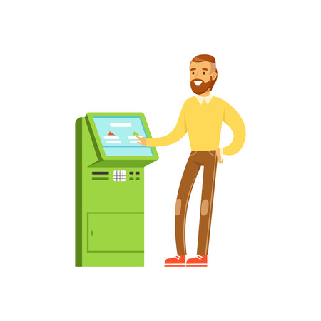 Smiling man using electronic self service payment terminal, people carrying out operations with terminal vector Illustration
