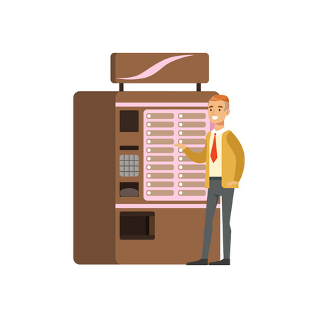 Smiling man using coffe vending machine, automatic device for hot drinks vector Illustration