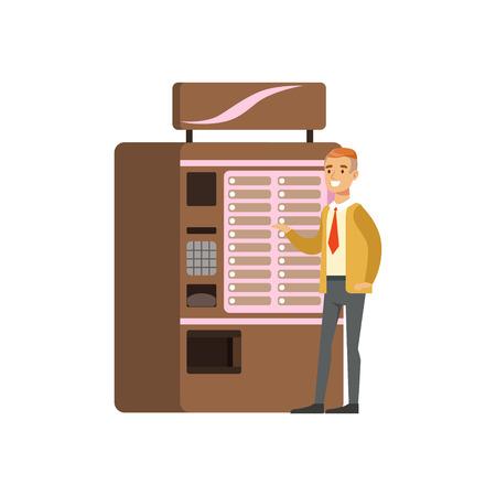 Homme souriant à l'aide de distributeur automatique de café, appareil automatique pour les boissons chaudes vector Illustration