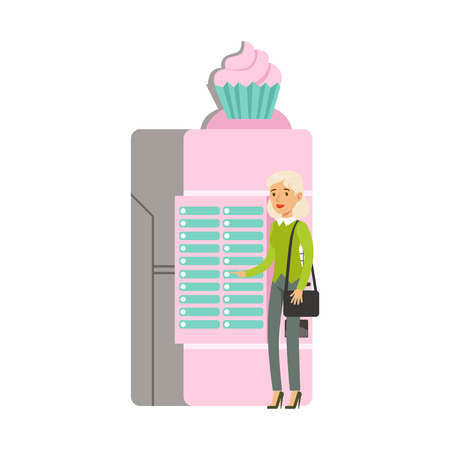 Young woman using ice cream automatic vending machine vector Illustration isolated on a white background Illustration