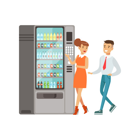 Business people standing next to automatic vending machine with drinks vector Illustration isolated on a white background Illusztráció