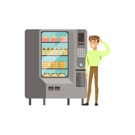 man drinking water: Young man standing next to automatic vending machine with drinks vector Illustration isolated on a white background