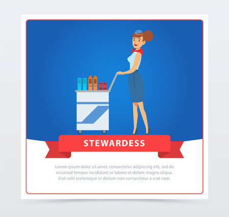 Air stewardess serves food and drinks to passengers from a trolley cart. Pretty woman flight attendant in uniform. Cabin crew. Vector flat design illustration banner. Business travel concept.