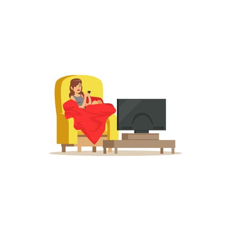 Jonge vrouwenzitting op leunstoel met rode deken voor de vectorillustratie van het televisiescherm