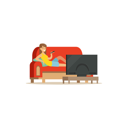 Young woman sitting on a sofa in a living room and watching tv vector Illustration isolated on a white background