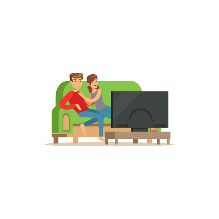 Young couple watching tv, people sitting on a sofa in a living room in front of the television screen vector Illustration isolated on a white background