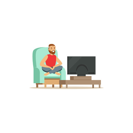 Young bearded man sitting on armchair with red blanket in front of the television screen vector Illustration isolated on a white background