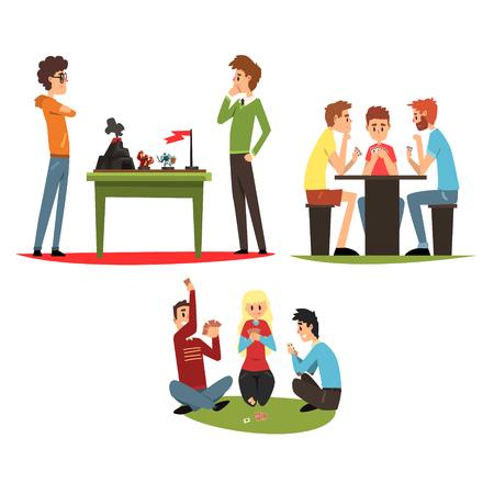 Tafelspelen set, vrienden spelen van een bordspellen, een groep vrienden om tijd doorbrengen samen vector illustratie geïsoleerd op een witte achtergrond