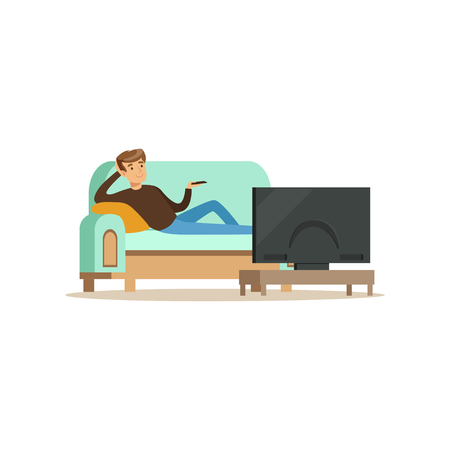 Young man sitting on a sofa in a living room in front of the television screen vector Illustration isolated on a white background