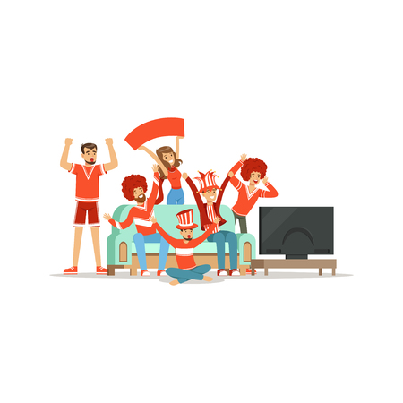 Groep vrienden die op TV thuis kijken en overwinning vieren thuis. Mensen gekleed in het rood ter ondersteuning van hun favoriete sportploeg vector illustratie geïsoleerd op een witte achtergrond