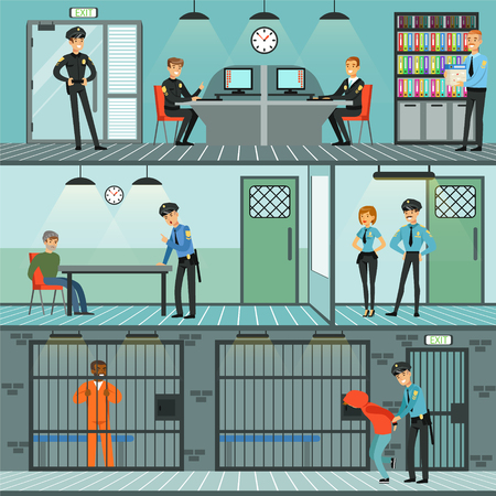 Police department set, policemen at work, investigating crimes, identifying and arresting criminals, office interior horizontal vector Illustrations Illusztráció