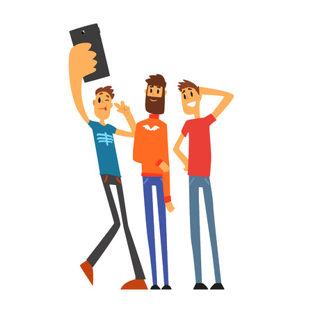 device: Group of smiling male friends taking selfie photo cartoon vector Illustration isolated on a white background Illustration