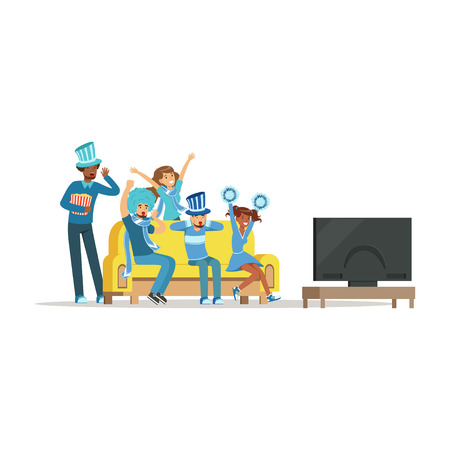 Group of friends watching sports on TV and celebrating victory at home. People dressed in blue supporting their favorite sports team vector Illustration isolated on a white background