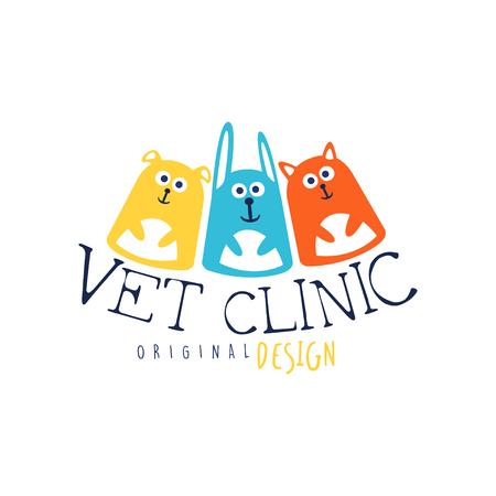 獣医クリニック テンプレート オリジナル デザイン、猫と犬とカラフルなバッジ手描きの背景イラスト