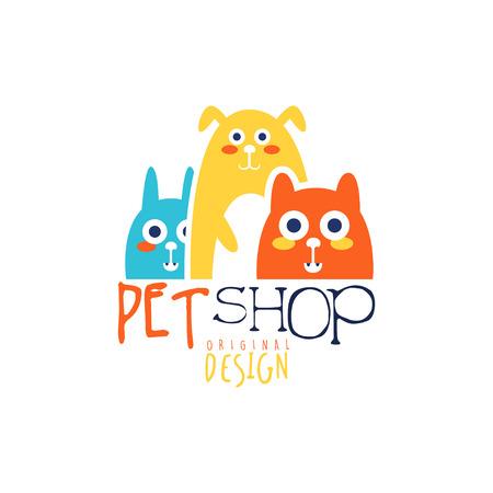 Het embleem origineel ontwerp van het dierenwinkelembleem, kleurrijk kenteken met dieren, hand getrokken vectorillustratie Stockfoto - 87602342