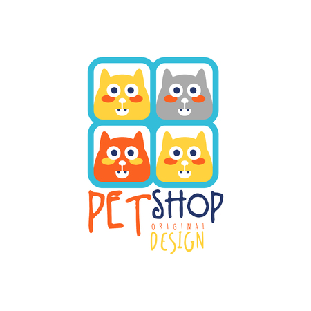 Pet shop logo template original design, colorful badge with cute cats, hand drawn vector Illustration