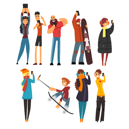 device: Different happy people taking selfie photo cartoon vector Illustrations
