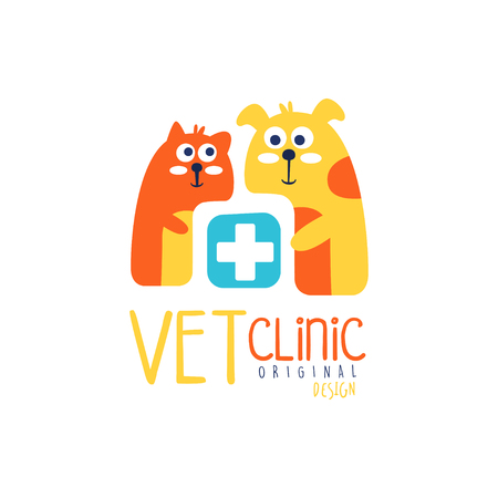 Vet clinic logo template original design, colorful badge with cats, hand drawn vector Illustration