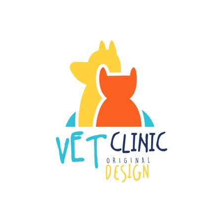 Vet klinika logo szablonu oryginalnego projektu, odznakę z kotów i psów, kolorowe wyciągnąć rękę ilustracji wektorowych Logo